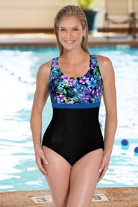 Chlorine Resistant Aquamore Mai Tai DD-Cup Scoop Neck One Piece
