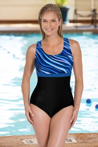 Chlorine Resistant Aquamore Synergy DD-Cup Scoop Neck One Piece