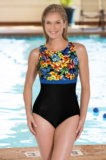 Chlorine Resistant Aquamore Oasis DD-Cup High Neck One Piece