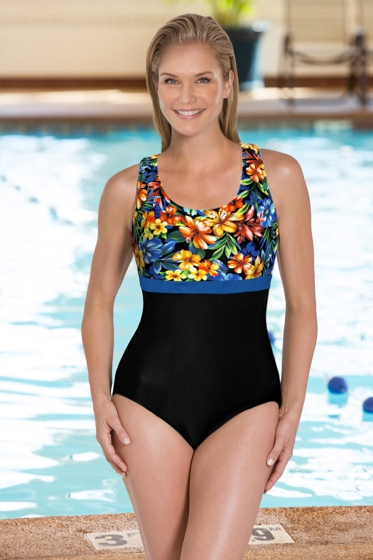 Chlorine Resistant Aquamore Oasis DD-Cup Scoop Neck One Piece
