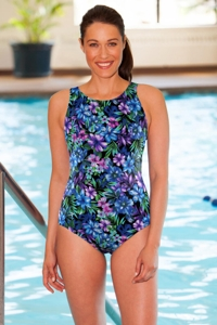 Chlorine Resistant Aquamore Mai Tai High Neck One Piece