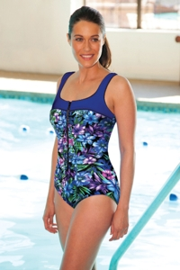 Chlorine Resistant Aquamore Mai Tai Zipper One Piece Swimsuit