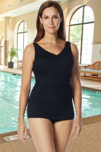 Chlorine Resistant Roxanne Black D-Cup Pleated Sheath One Piece Swimsuit