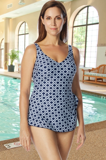 Chlorine Resistant Roxanne Navy D-Cup Off The Grid V-Neck Sarong One Piece Swimsuit