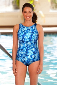 Chlorine Resistant Aquamore Aqua High Neck One Piece Swimsuit