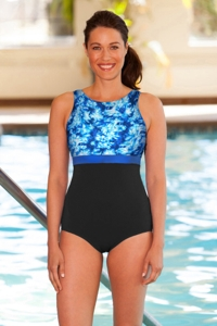 Chlorine Resistant Aquamore Aqua Block High Neck One Piece