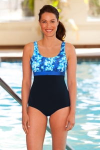 Chlorine Resistant Aquamore Aqua Block Scoop Neck One Piece
