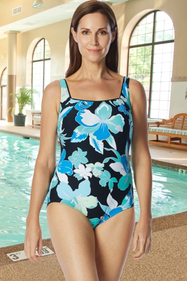 Chlorine Resistant Roxanne Garden City D-Cup Square Neck One Piece Swimsuit
