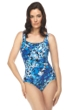 Roxanne River Jewel Square Neck One Piece Chlorine Resistant Swimsuit Black