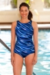 Chlorine Resistant Aquamore Synergy High Neck One Piece Swimsuit