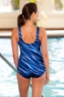 Chlorine Resistant Aquamore Synergy Scoop Neck One Piece Swimsuit