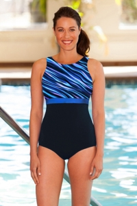 Chlorine Resistant Aquamore Synergy Print Block High Neck One Piece Swimsuit