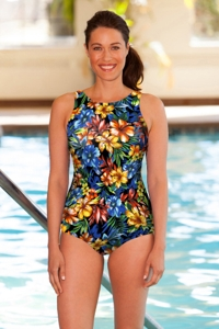 Chlorine Resistant Aquamore Oasis High Neck One Piece Swimsuit