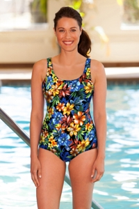 Chlorine Resistant Aquamore Oasis Scoop Neck One Piece Swimsuit