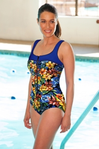 Chlorine Resistant Aquamore Oasis Zipper One Piece Swimsuit