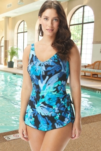 Chlorine Resistant Roxanne Painted Petals D-Cup V-Neck Sarong One Piece Swimsuit