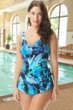 Chlorine Resistant Roxanne Painted Petals DD-Cup V-Neck Sarong One Piece Swimsuit