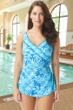 Chlorine Resistant Roxanne Marina Bay Twilight Blue D-Cup Pleated Surplice Sarong One Piece Swimsuit
