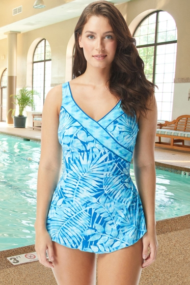 Chlorine Resistant Roxanne Marina Bay Twilight Blue DD-Cup Pleated Surplice Sarong One Piece Swimsuit