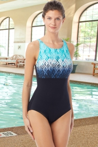 Chlorine Resistant Hydrofinity Gabar Black Ikat Sunrise C-Cup High Neck One Piece Swimsuit