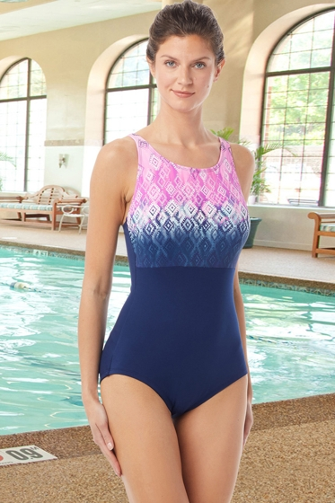 Chlorine Resistant Hydrofinity Gabar Navy Ikat Sunrise C-Cup High Neck One Piece Swimsuit