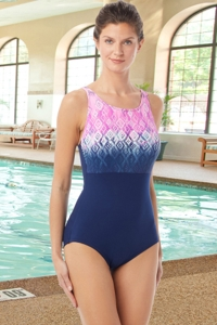 Chlorine Resistant Hydrofinity Gabar Navy Ikat Sunrise D-Cup High Neck One Piece Swimsuit