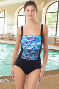 Chlorine Resistant Hydrofinity Gabar Black Speed Stripe C-Cup Square Neck One Piece Swimsuit