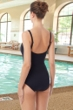 Chlorine Resistant Hydrofinity Gabar Black Speed Stripe D-Cup Square Neck One Piece Swimsuit