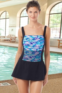 Chlorine Resistant Hydrofinity Gabar Black Speed Stripe Square Neck Swimdress