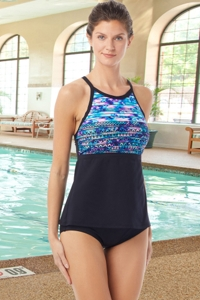 Chlorine Resistant Hydrofinity Gabar Black Speed Stripe High Neck Tankini Top with Matching High Waisted Tankini Bottom