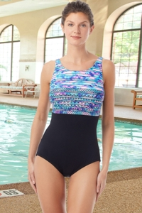 Chlorine Resistant Hydrofinity Gabar Black Speed Stripe C-Cup High Neck One Piece Swimsuit