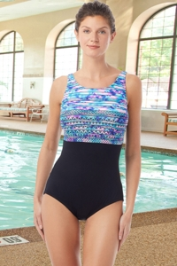 Chlorine Resistant Hydrofinity Gabar Black Speed Stripe D-Cup High Neck One Piece Swimsuit