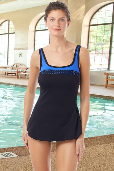 Chlorine Resistant Hydrofinity Gabar Black Light Stream D-Cup Laser Cut Square Neck Sarong One Piece Swimsuit