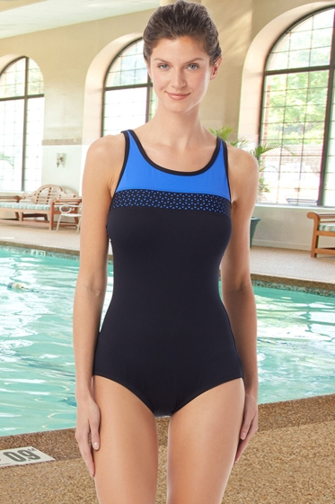 Chlorine Resistant Hydrofinity Gabar Black Light Stream C-Cup Laser Cut High Neck One Piece Swimsuit