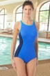 Chlorine Resistant Hydrofinity Gabar Navy Light Stream Color Block High Neck One Piece Swimsuit