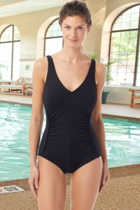 Chlorine Resistant Hydrofinity Gabar Black Light Stream Underwire Draped V-Neck One Piece Swimsuit