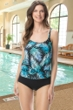 Chlorine Resistant Gabar Hologram Palm Black Two Piece Blouson Tankini Top with Matching High Waisted Tankini Bottom