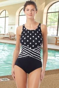Chlorine Resistant Hydrofinity Gabar Black Island Mix D-Cup High Neck One Piece Swimsuit