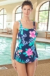 Chlorine Resistant Hydrofinity Gabar Navy Native Floral C-Cup Square Neck Sarong One Piece Swimsuit