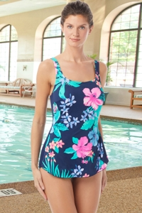 Chlorine Resistant Hydrofinity Gabar Navy Native Floral D-Cup Square Neck Sarong One Piece Swimsuit
