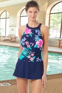 Chlorine Resistant Hydrofinity Gabar Navy Native Floral High Neck Swimdress