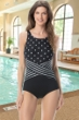 Chlorine Resistant Gabar On Your Mark Mix Black D-Cup Cross Over High Neck One Piece Swimsuit