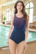 Chlorine Resistant Gabar Get Set Dot Navy and Blackberry D-Cup High Neck One Piece Swimsuit