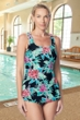 Gabar Hydrofinity Chlorine Resistant Jungle Flower Square Neck Sarong D-Cup One Piece Swimsuit