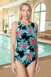 Gabar Hydrofinity Chlorine Resistant Jungle Flower High Neck C-Cup One Piece Swimsuit
