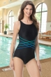 Chlorine Resistant Gabar Hi-Def Rib Black D-Cup High Neck One Piece Swimsuit