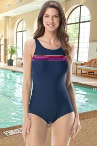 Chlorine Resistant Gabar Hi-Def Rib Navy D-Cup High Neck One Piece Swimsuit