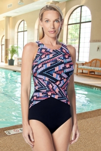 Gabar Hydrofinity Chlorine Resistant Pink Wave Runner High Neck D-Cup One Piece Swimsuit