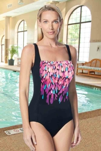 Gabar Hydrofinity Chlorine Resistant Dream Waterfall Square Neck C-Cup One Piece Swimsuit