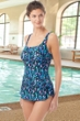 Chlorine Resistant Hydrofinity Gabar Black Galaxy Stripe C-Cup Square Neck Sarong One Piece Swimsuit